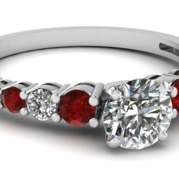 A Gorgeous 1 Carat Graduated Round Cut Diamond And Ruby Gemstone White Gold Engagement Ring