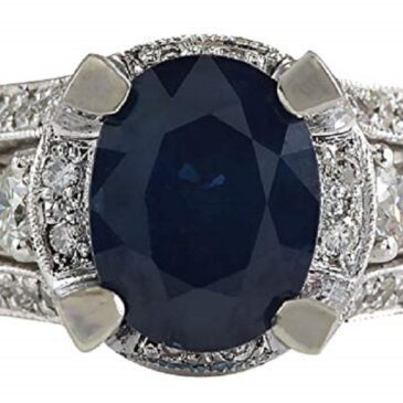 4.45 Carat Natural Blue Sapphire and Diamond Ring