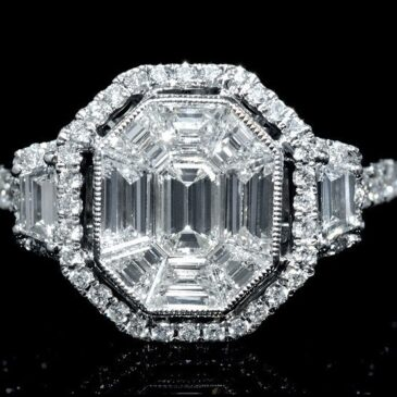 18K WHITE GOLD DIAMOND ANTIQUE ENGAGEMENT RING