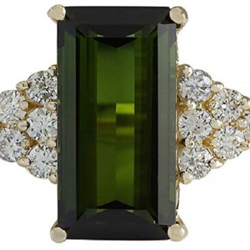 A Magnificent 10.65 Carat Natural Green Tourmaline and Diamond 14K Yellow Gold Ring