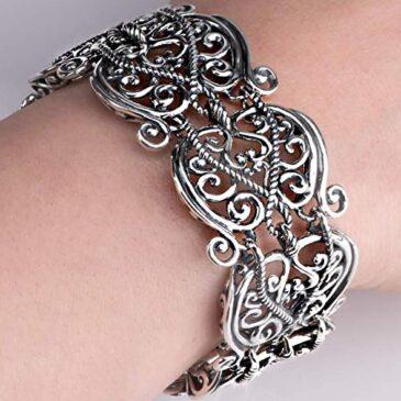 Carolyn Pollack Sterling Silver Filigree Design Link Bracelet