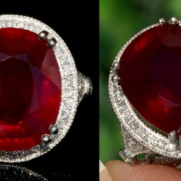 Spectacular 13.46 Tcw Red Ruby Diamond Ring 14k White Gold
