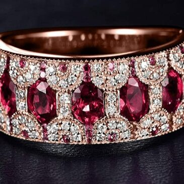 A Gorgeous Red Ruby and Diamond Band Ring