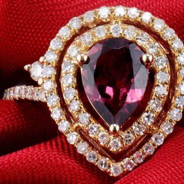 Gorgeous Pink Tourmaline and Diamond Ring