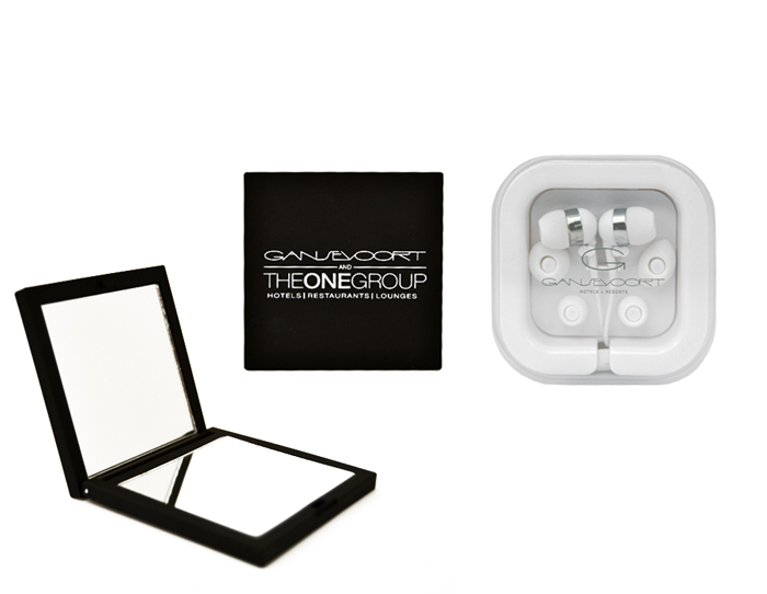 Gansevoort Ear Buds and Compact Mirror set