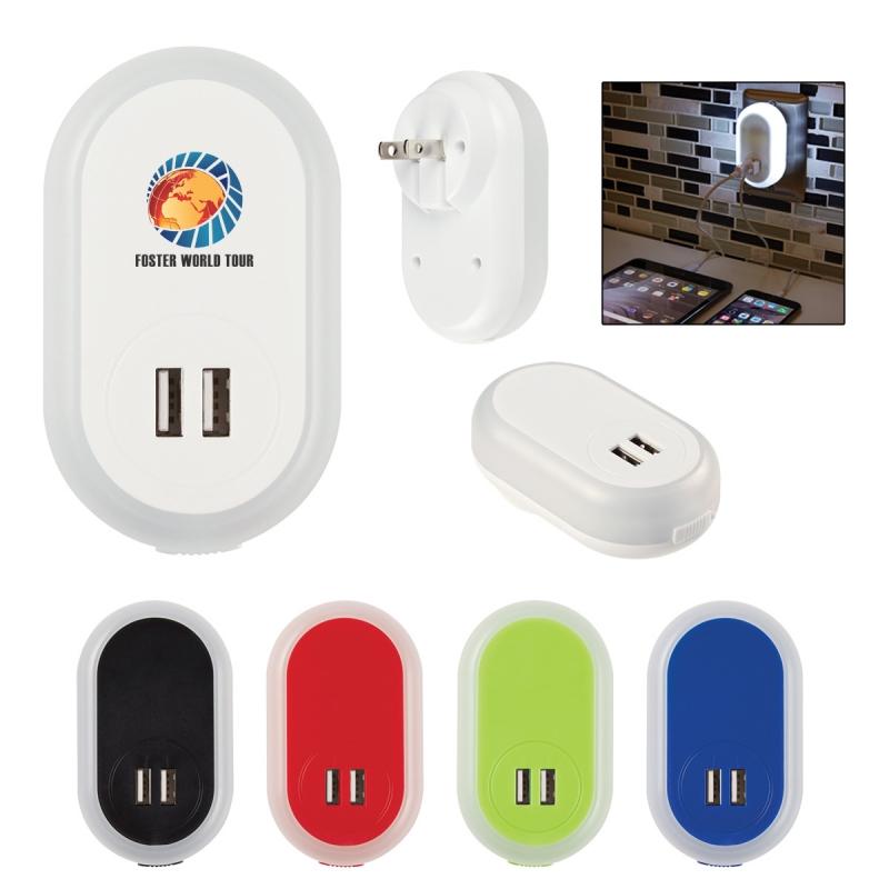 Custom 2-in-1 LED Nightlight with Dual Port USB Adapter