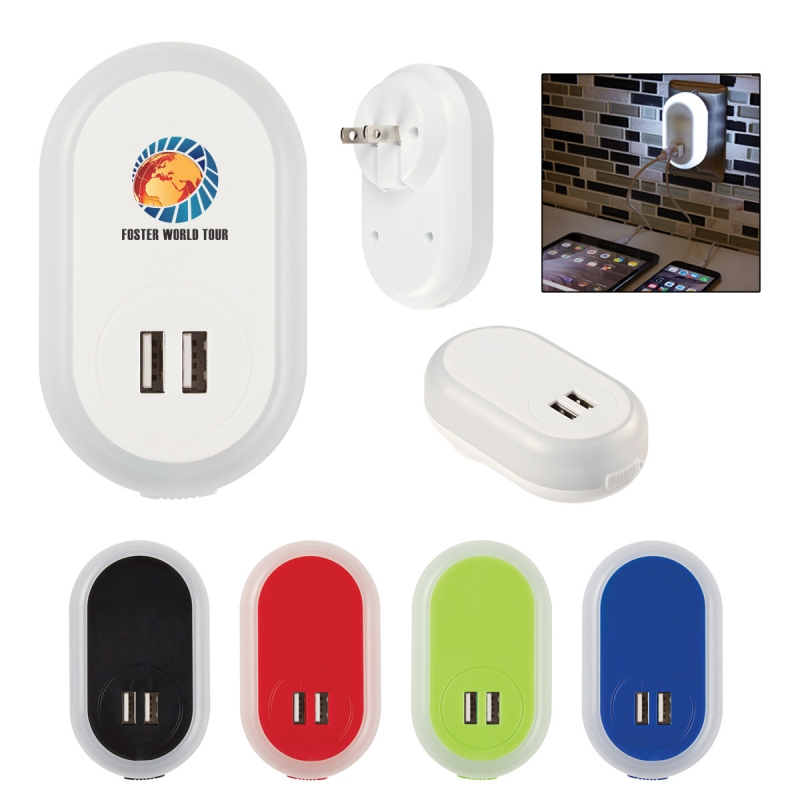 Custom 2-in-1 LED Nightlight with Dual Port USB Adapter