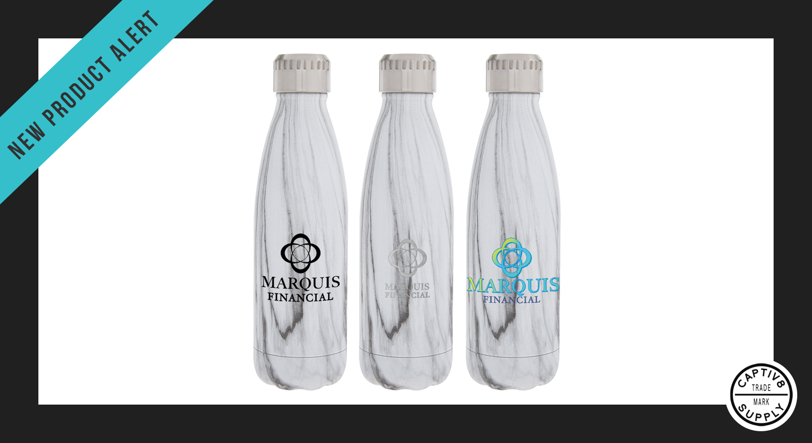 *New Product Alert* – 16 oz. Stainless Steel Marble Water Bottle