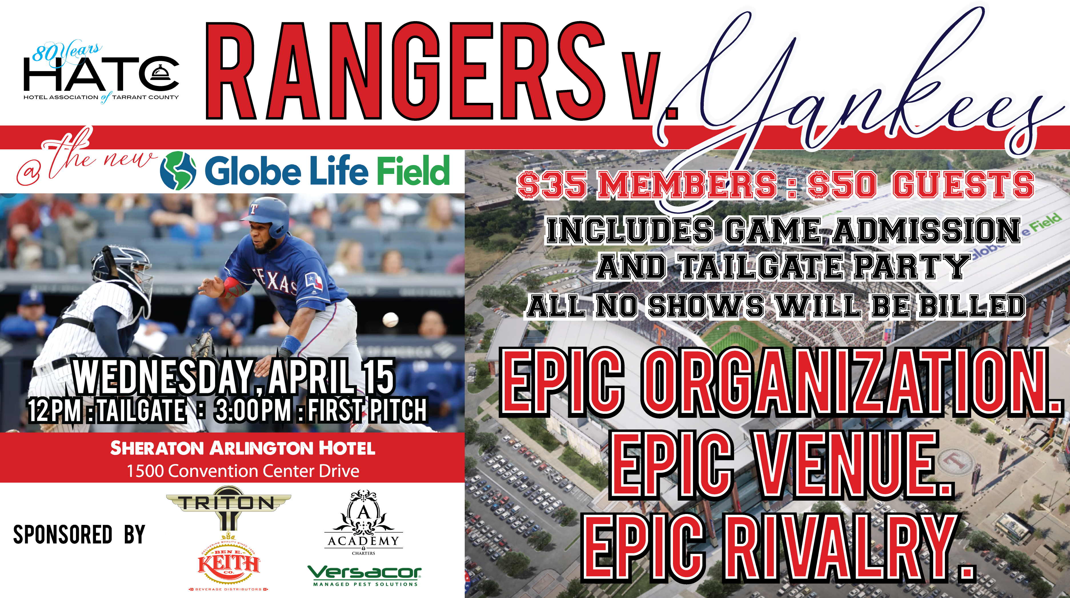 HATC Tailgate Party & Texas Rangers Game April 2020
