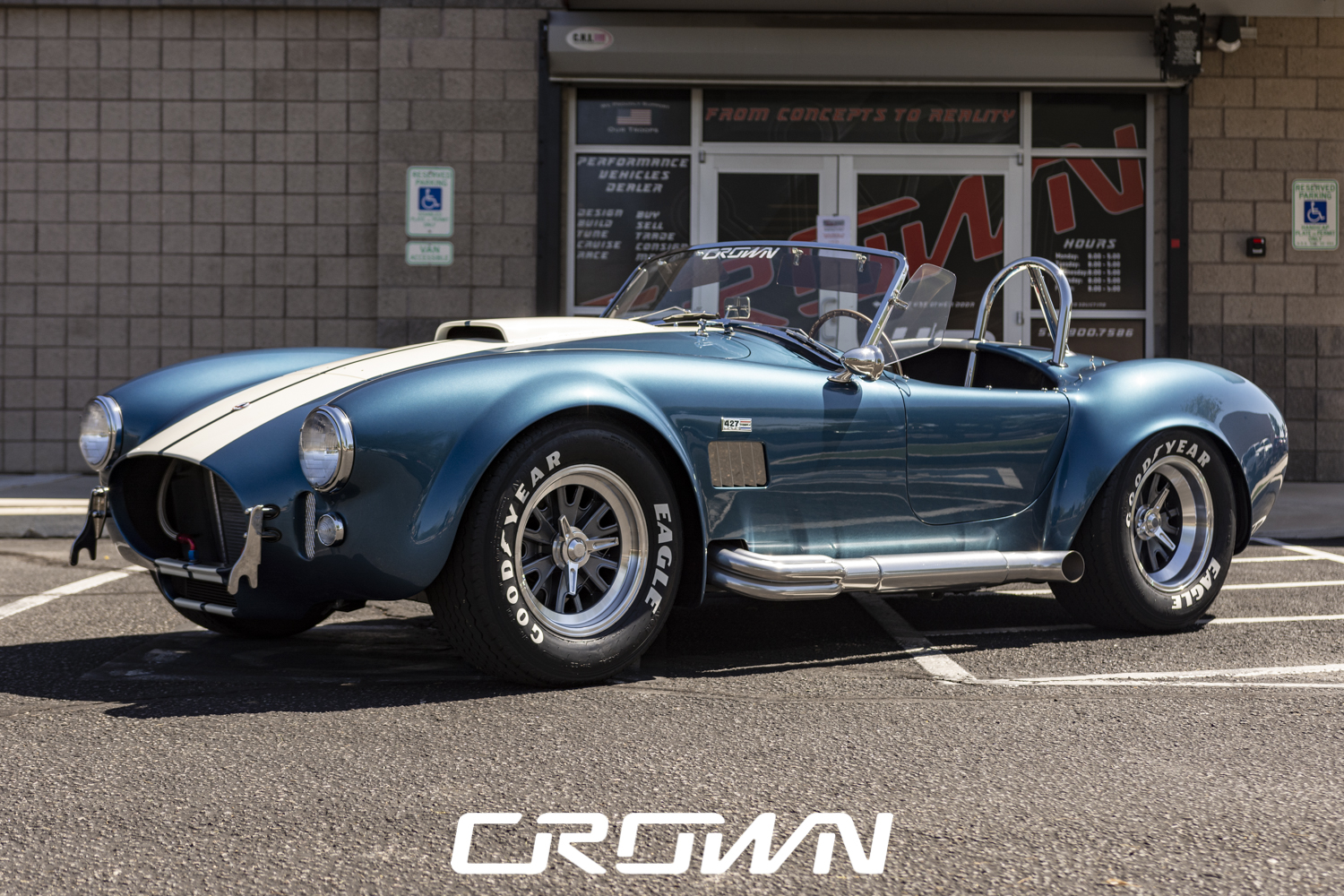 Superformance MKIII Cobra in Front of Crown Concepts