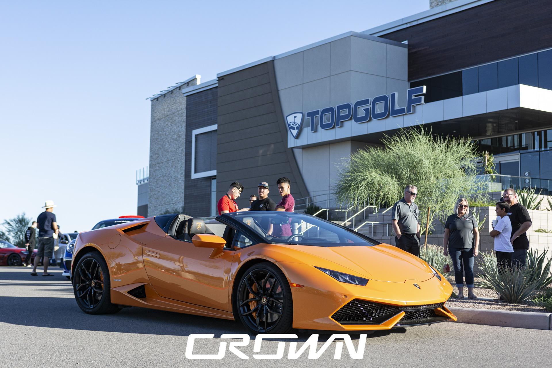 orange Lambo at TopGolf car show