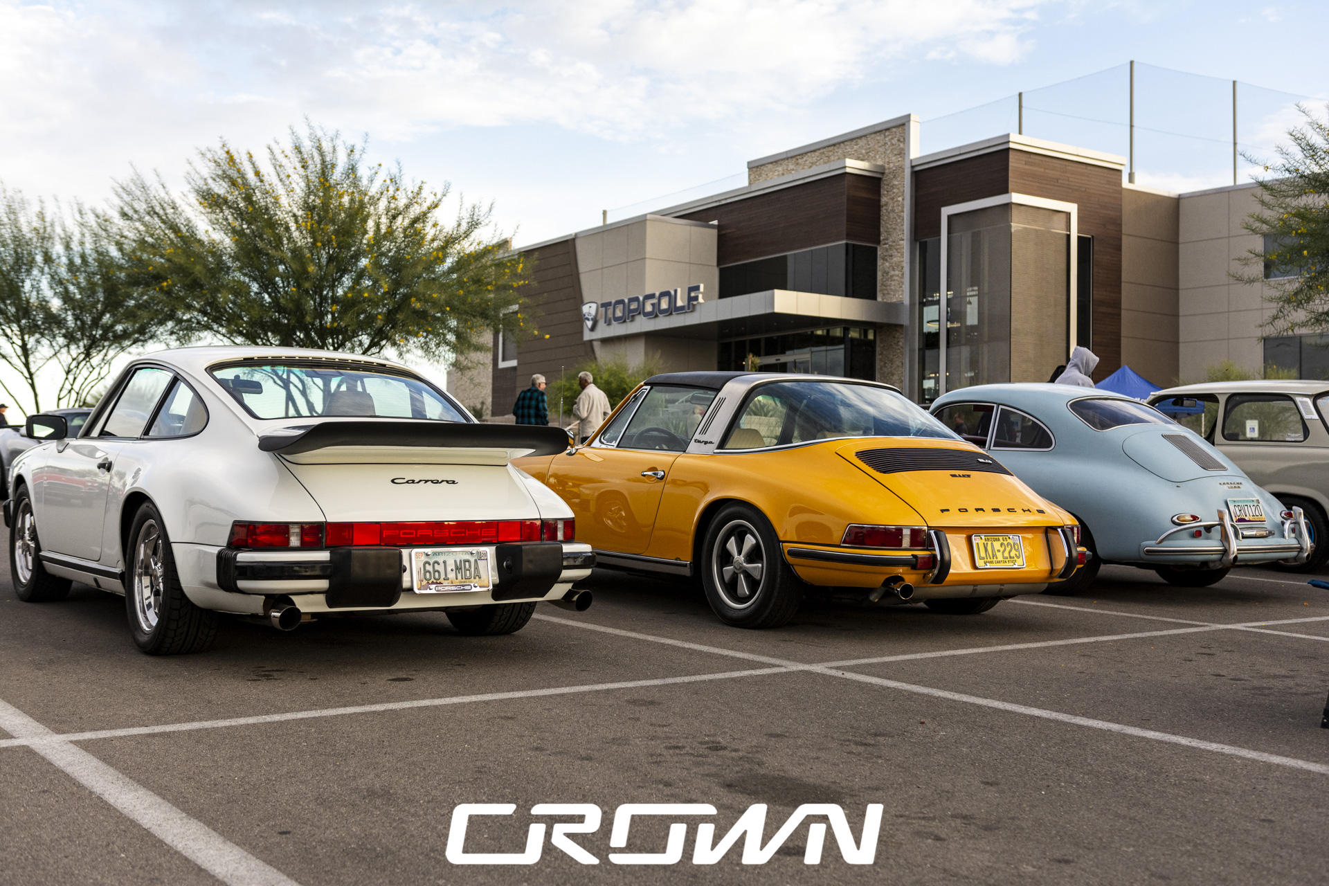 Classic Porsches at TopGolf Cars and coffee and clubs