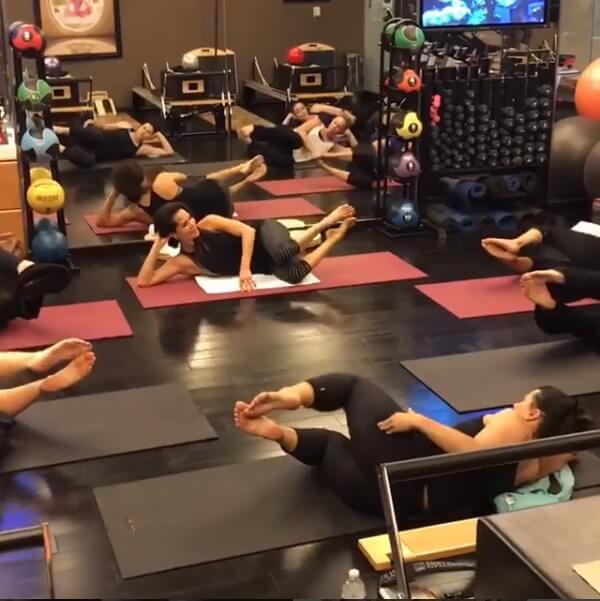 Nina Waldman teaching a pilates class at Body in Mind studio in Las Vegas