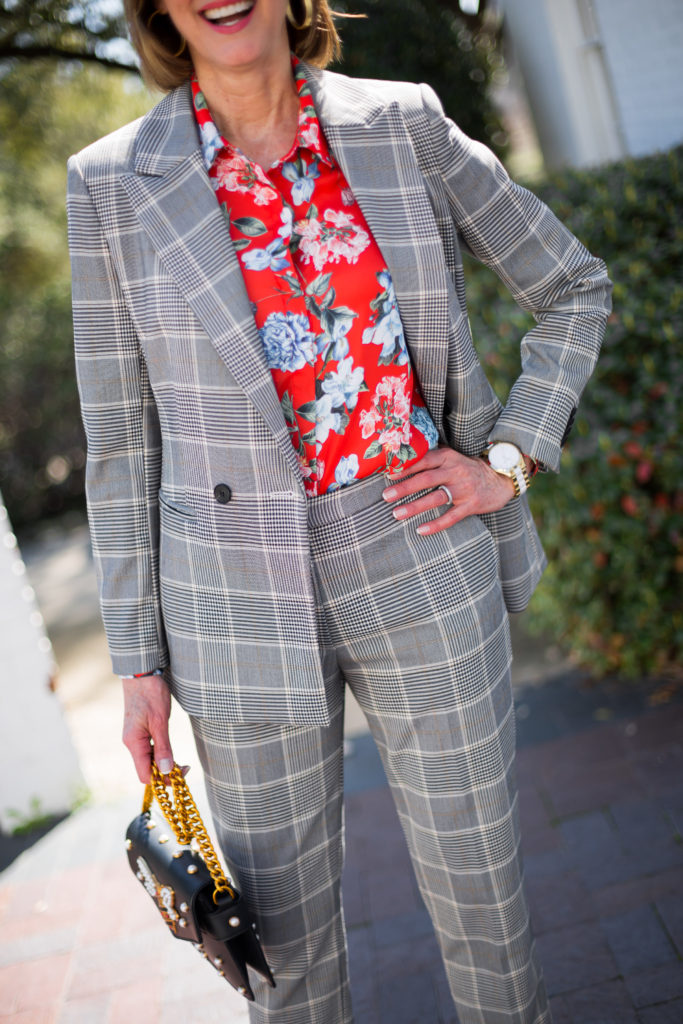 mixing plaid pant and double breasted blazer with floral blouse  from H&M