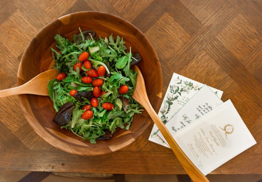 heathy salad, wedding invitations, teakwood salad bowl, debbyfashionomics
