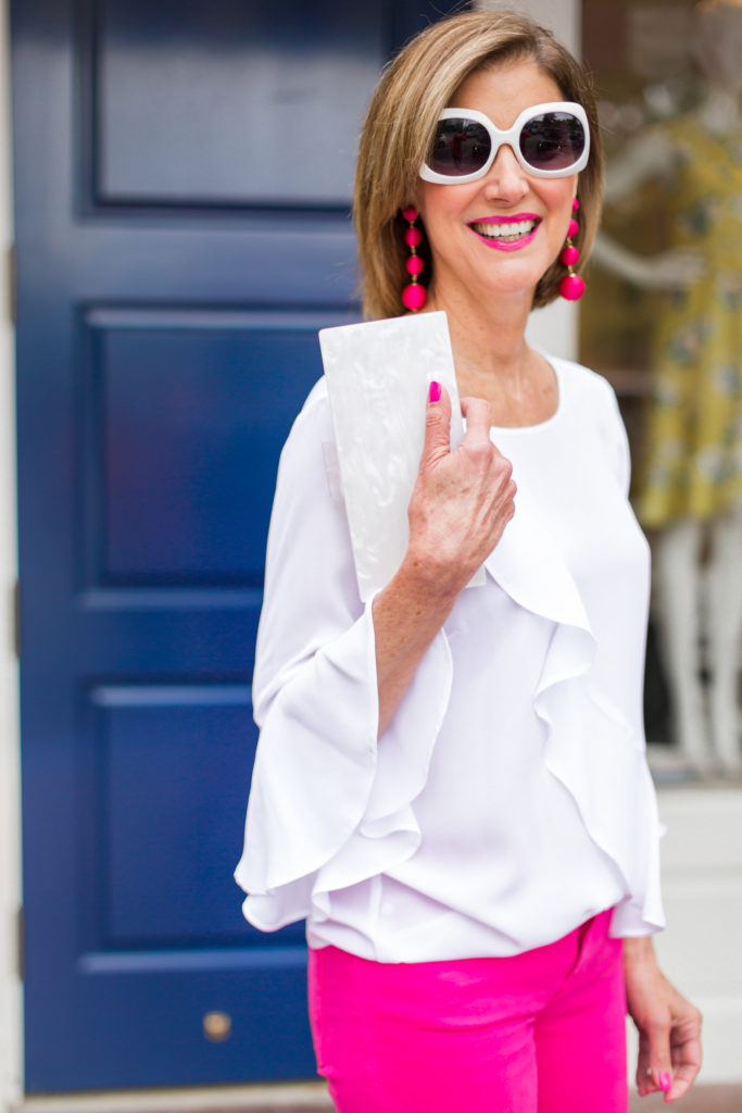 ruffle blouses, ball earrings, hot pink jeans, fashion blog, white sunnies