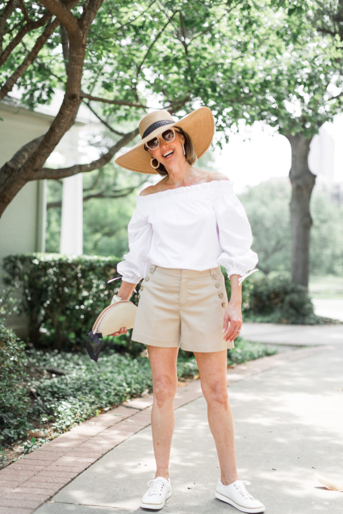Summer shorts from Banana Republic and white off the shoulder blouse for over 50 blog.
