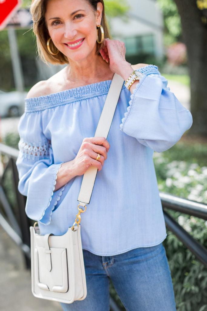 Bone cross-body-bag by Rebecca Minkoff on Dallas blogger