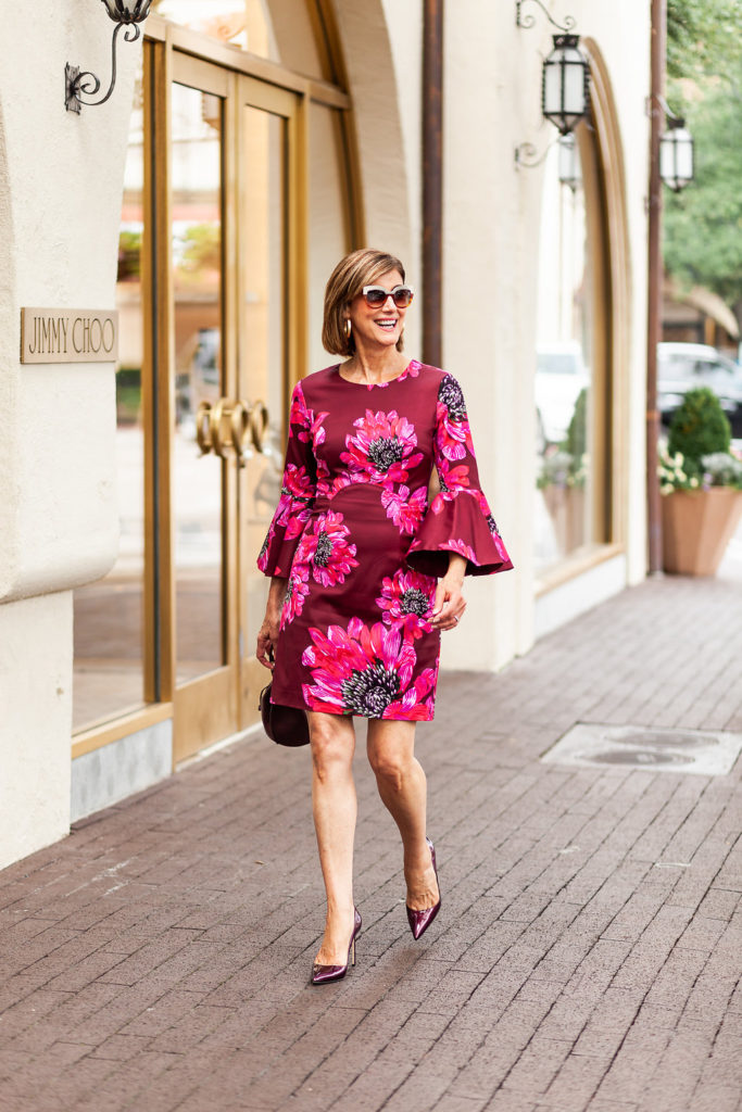 Fall floral dresses make a great transition piece for September 2018 for over 50 blogger.
