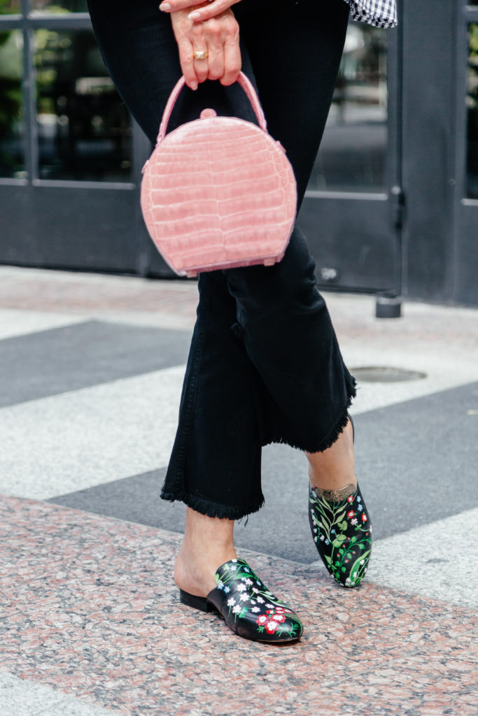 Nancy Gonzales box bag is over the top fabulous for Fashionomcs over 50 founder Debby Allbright