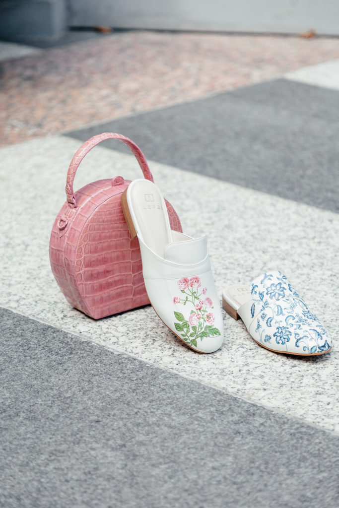 Alepel hand painted mules are unique and a great price point.