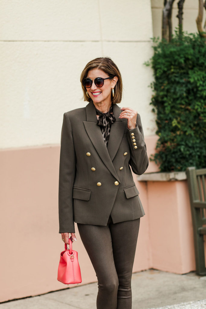 Fashionomics olive green jacket with gold buttons