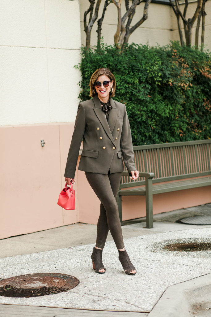 Olive green jackets are the best neutral for over 50 dallas blogger