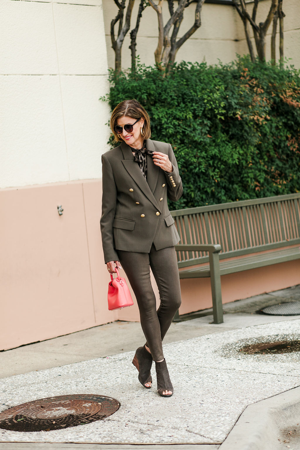 Neutral L'Agence olive green coated jeans for over 50 blogger