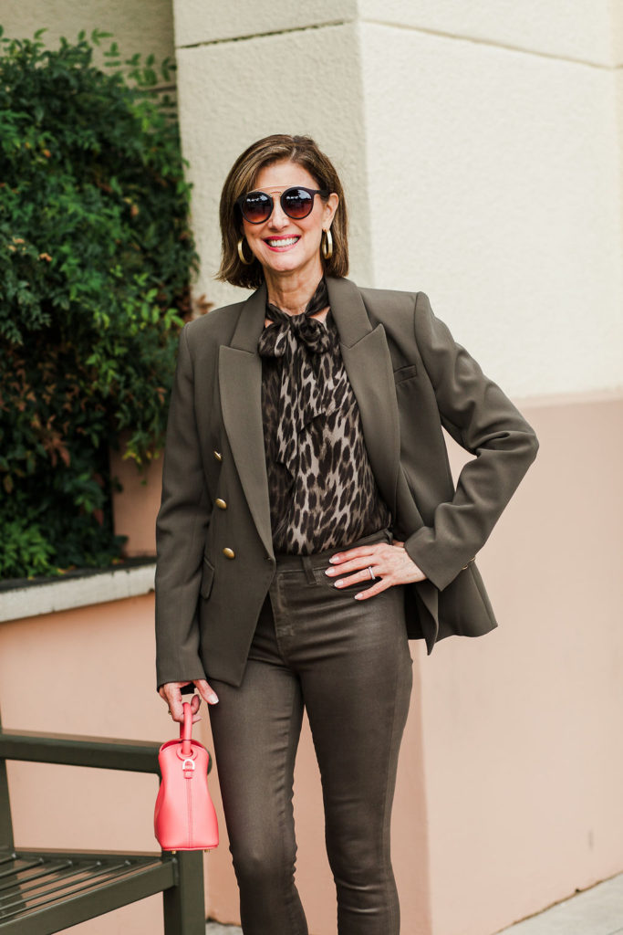 L'Agence leopard blouse with bow detailing from Tootsies Dallas