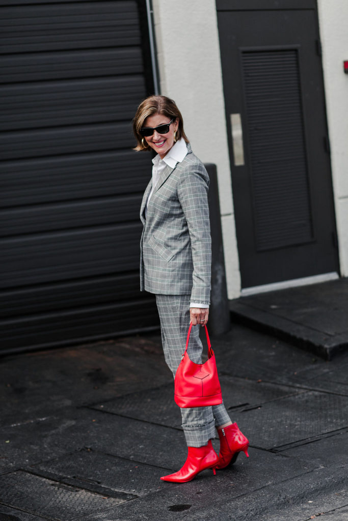 red accessories shoes by zara and purse by rag and bone