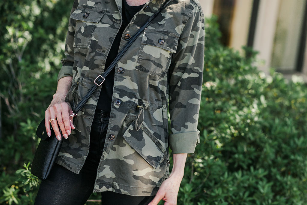 camo jacket from Banana Republic is great for fall over 50 blogger
