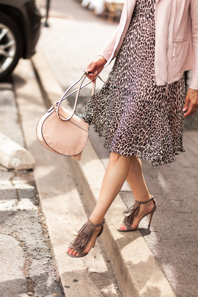 animal prints are always in style leopard dress with brown and pink