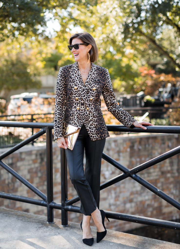 leopard-everything on over 50 blogger in Dallas Texas