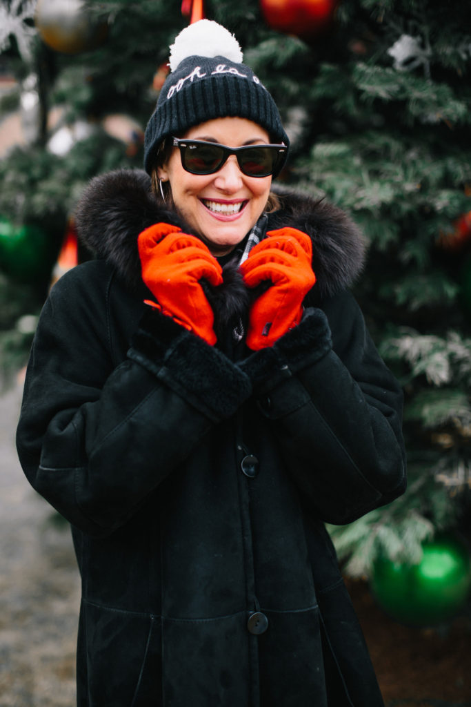 Red gloves from Neiman Marcus Last Call add a pop of color