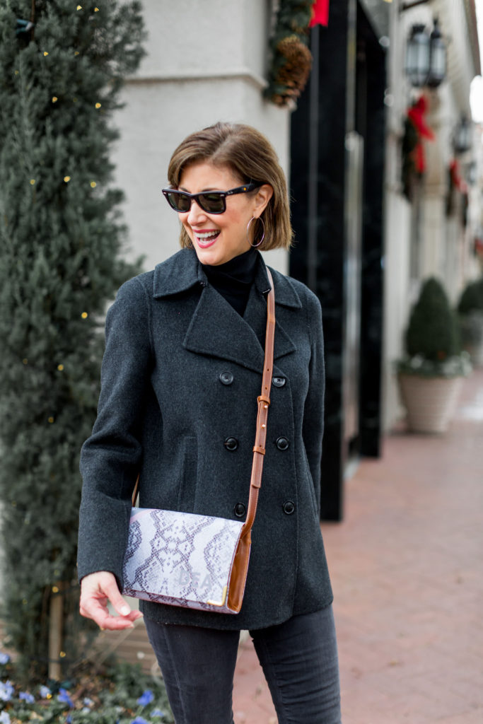 Fashionomics Dallas blogger loves cross body in snakeskin patter from Barrington