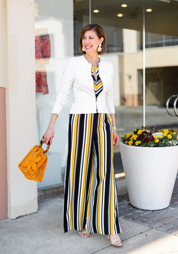 Yellow is a huge trend love straw handbags and statement earrings
