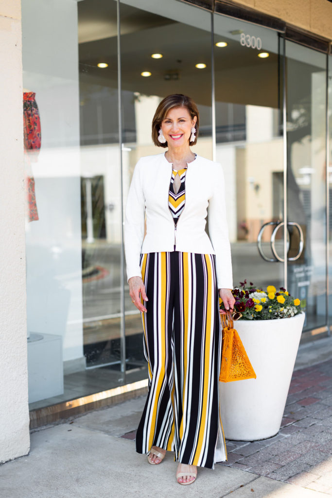 Striking-Spring-Trends Stripes and Mellow Yellow Fashionomics style