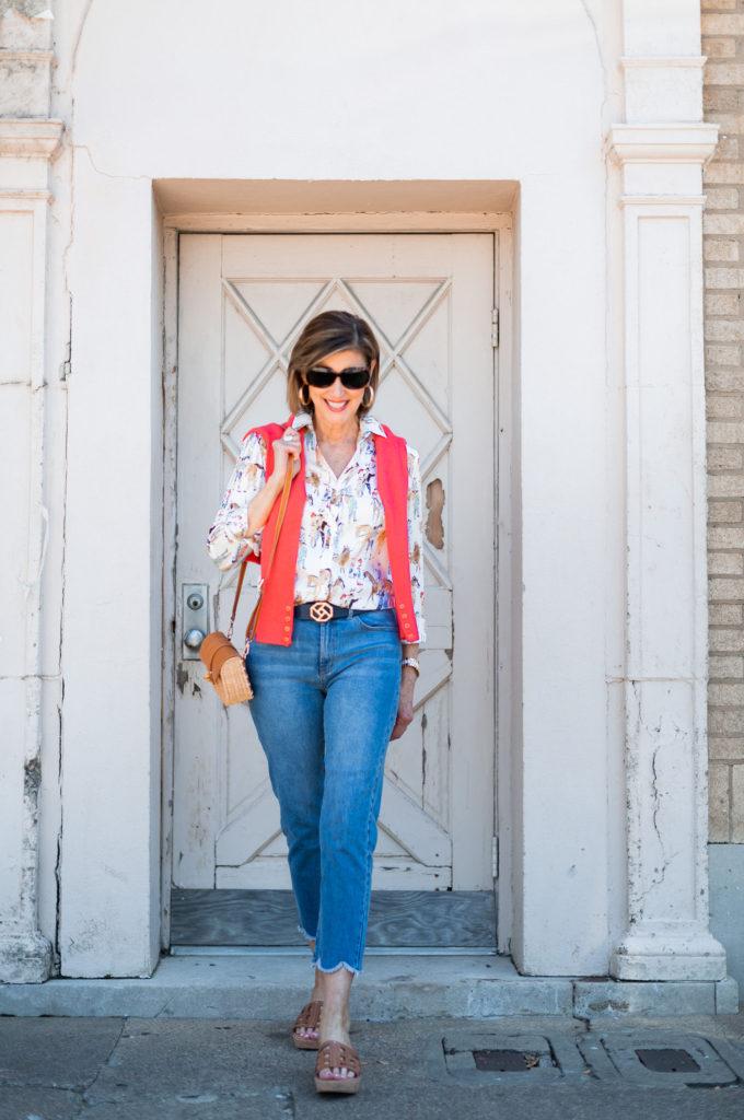 Fashionomics founder Debby Allbright wearing scallop jean