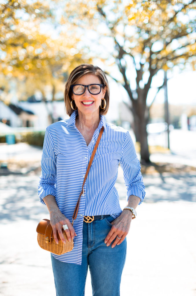Dallas blogger in stripe shirt