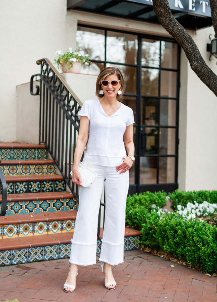 All white denim dressed up