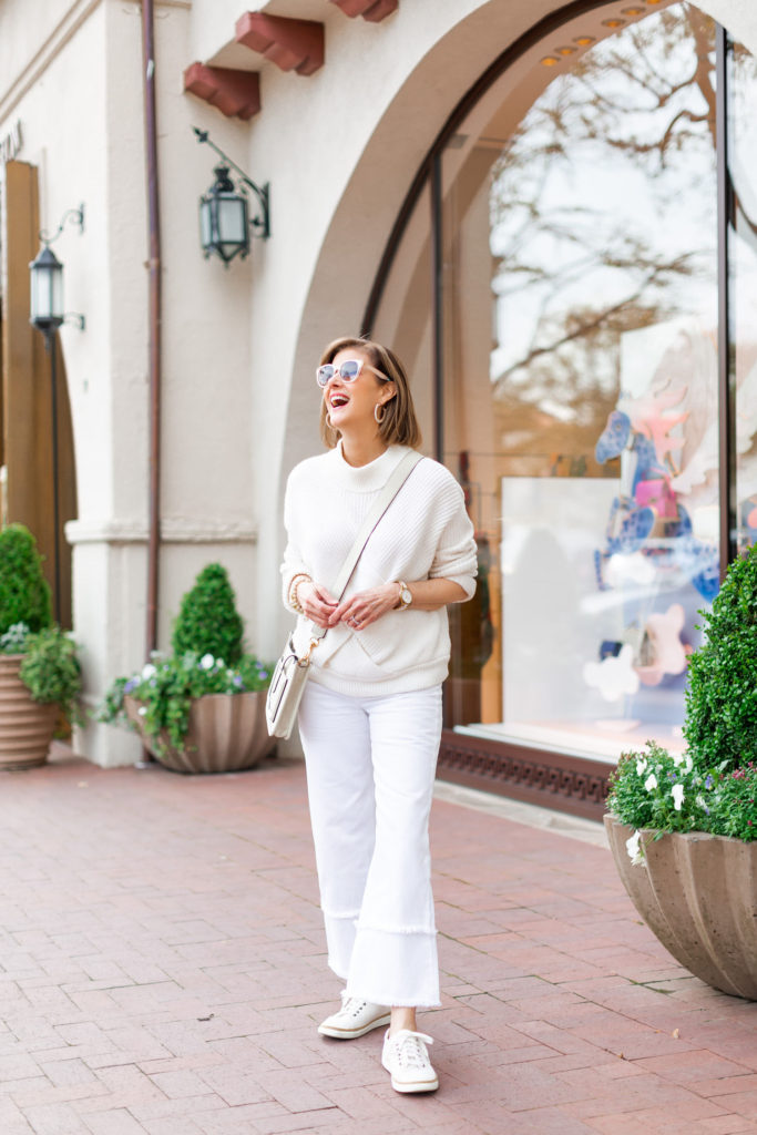 wide leg white denim with cream sweater