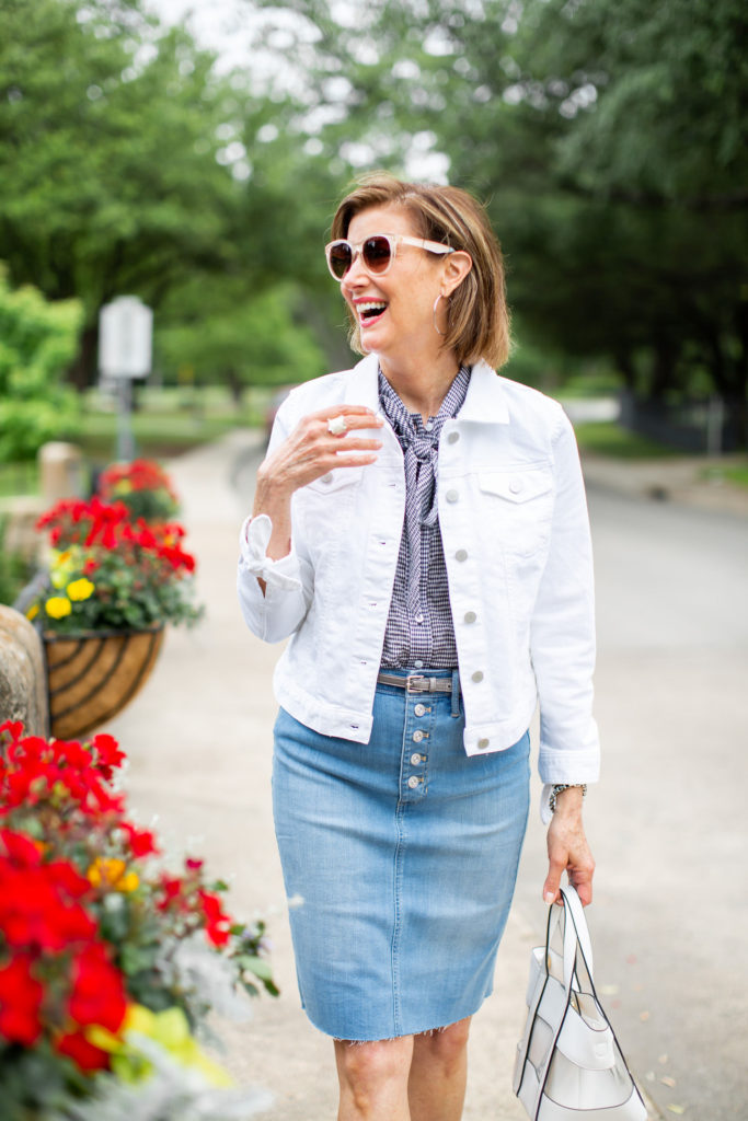 White denim jacket with tie sleeve detail