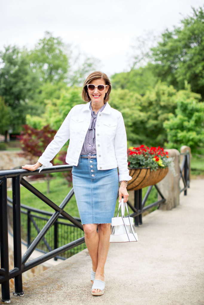 how to wear a denim  skirt over 50