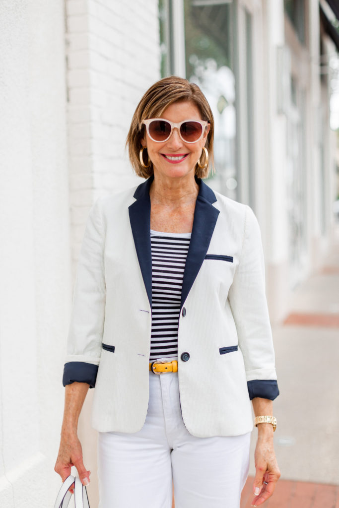 Koch blazer with stripe tank