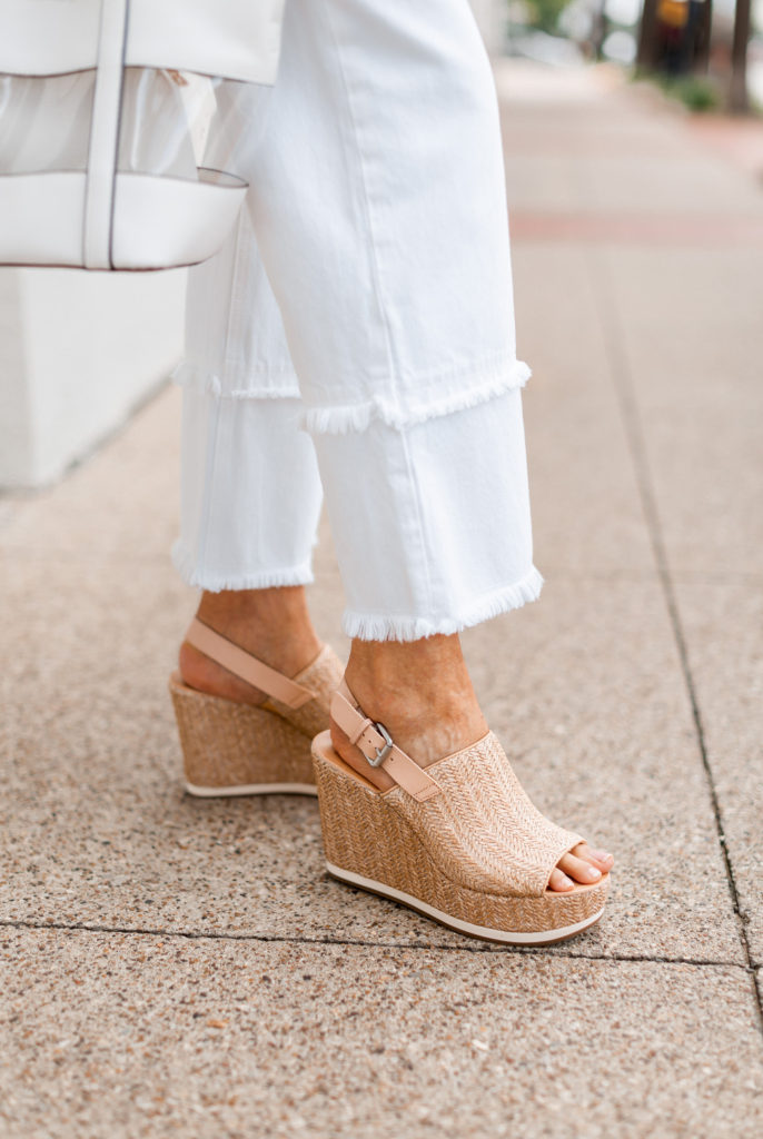 wide leg jean with neutral platform