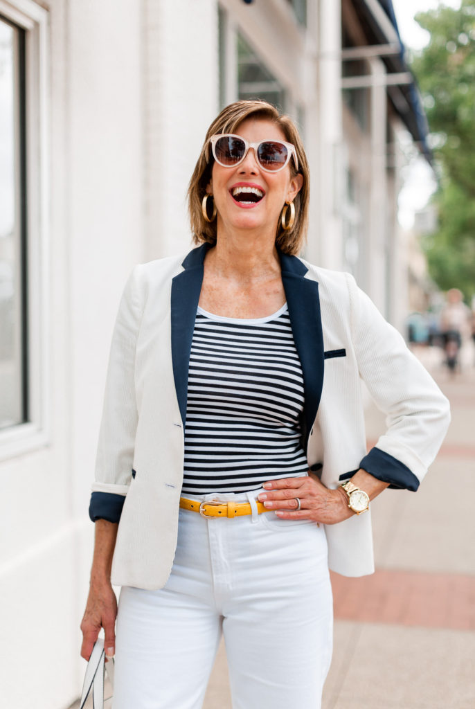 Gap stripe tank with yellow belt