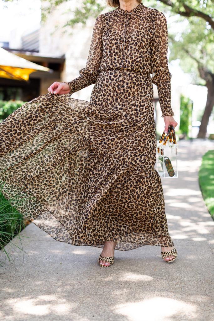 Veronica Beard leopard maxi dress on over 50 blogger