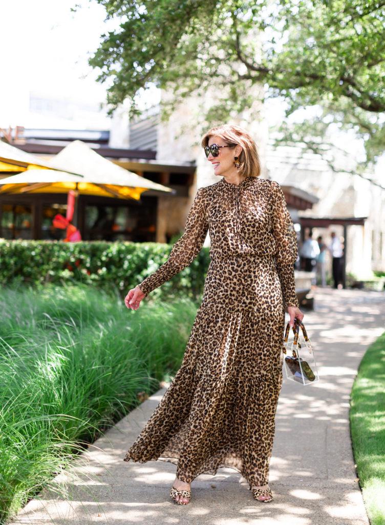 Veronica Beard leopard maxi dress for fall