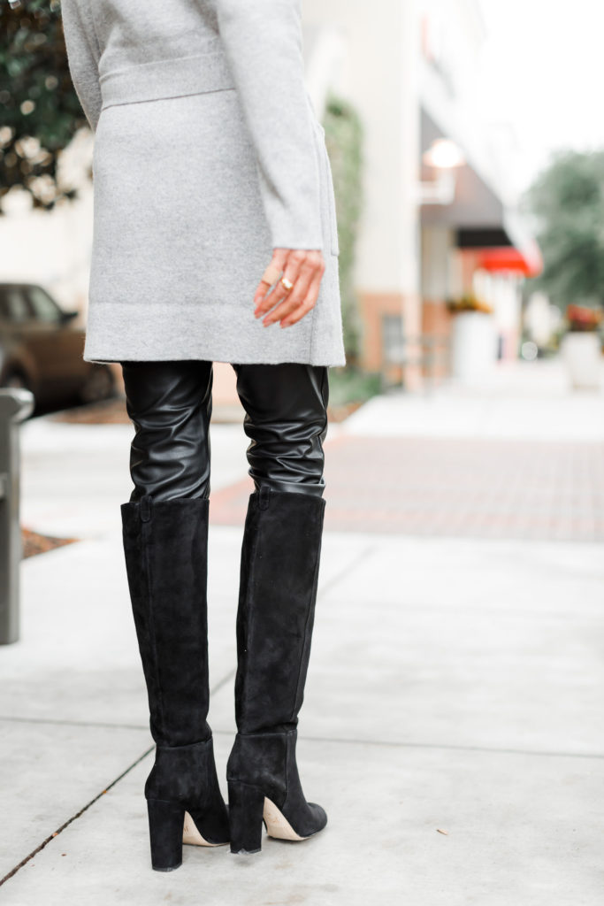 Mixing textures leather suede and cashmere
