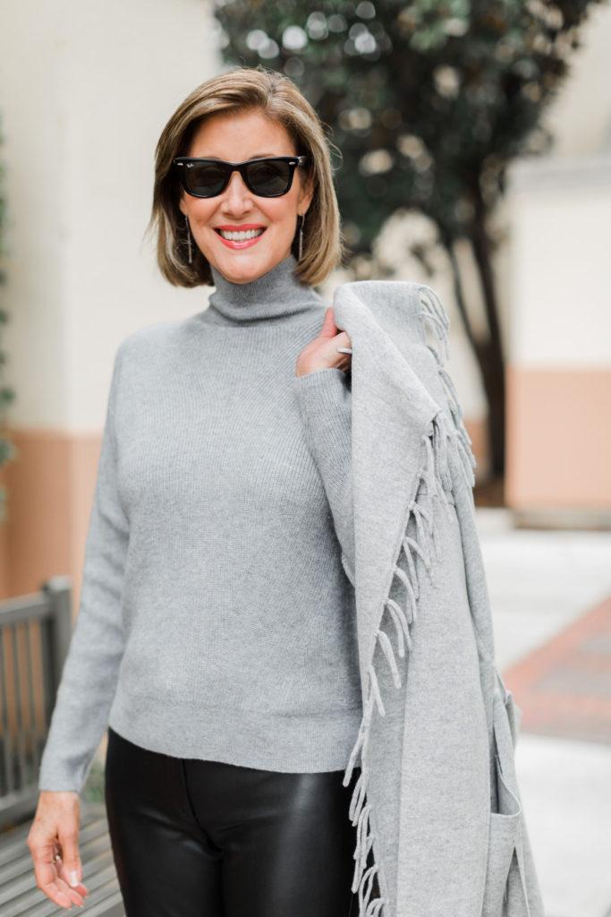 Fringe detailing on cashmere sweater